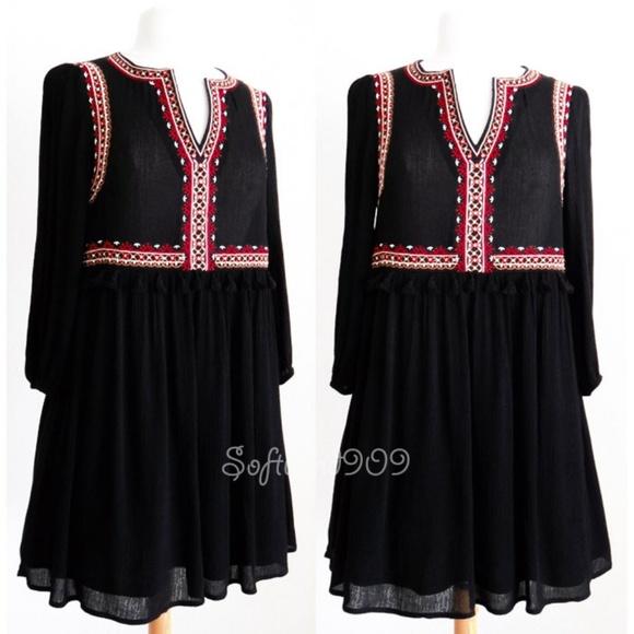 She and Sky Dresses & Skirts - Black Embroidery Tassel Split Neck Cute Boho Dress